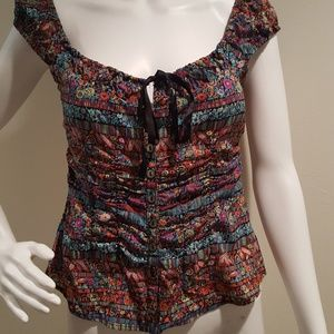 Nanette Lepore Silk Off Shoulder Blouse Tie Front